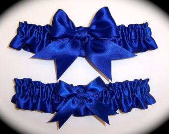 Gorgeous Cobalt Blue Keepsake and Toss Wedding Garter Set BB