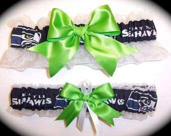 Seattle Seahawks Wedding Garter Set  Handmade   Keepsake and Toss Bridal agw1
