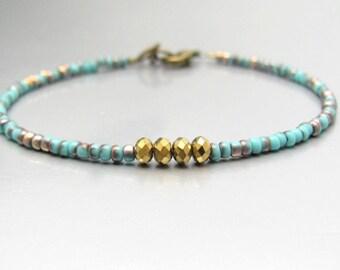 Beaded Bracelet, Beaded Friendship Bracelet, Tuquoise Blue Bracelet, Seed Bead Bracelet, Best Friend Gift