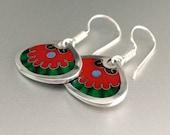 Silver, cloisonné enamel earrings-Flores para ti
