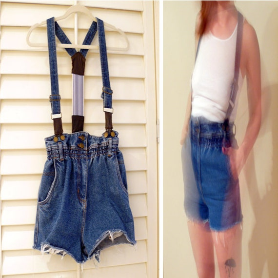 Vintage Blue Jean Overall Shorts // High Waisted Denim Cutoffs