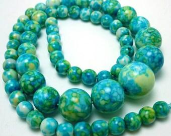60 Aqua Rain Flower Howlite Beads graduating 6-14MM aqua green yellow (h1518)