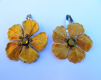 Set of Mustard Yellow Flower Barrettes, Yellow Barrettes, Flower Snap Barrettes