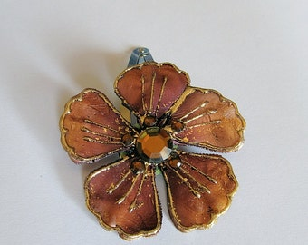 Chocolate Brown Flower Barrette, Brown Barrette, Flower Snap Barrette