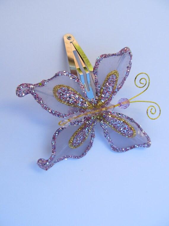 Lavender colored Butterfly Barrette, Lavender Barrette, Butterfly Snap Barrette, Lilac