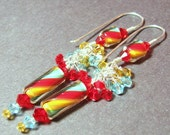 Long yellow, aqua, red cluster furnace bead earrings Crystal clusters Custom ear wires Sterling silver CIRCUS