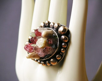 Spring Bloom Crystal Cluster Ring made with Rare Red Moss Quartz