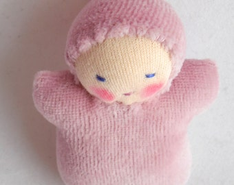 Waldorf doll, germandolls, Pocket Doll, Pink baby, Waldorf Toy, mini pocket baby, gift for girl, valentines day, handmade doll