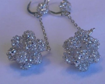 Silver Particle Earrings