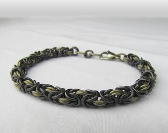 Niobium and Titanium Byzantine weave chainmaille bracelet