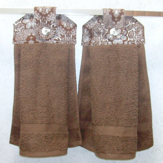 Hanging Cloth Top Kitchen Hand Towels Brown And White Damask