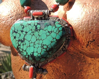 Massive Turquoise and Sterling Silver Tibetan Prayer Box Necklace