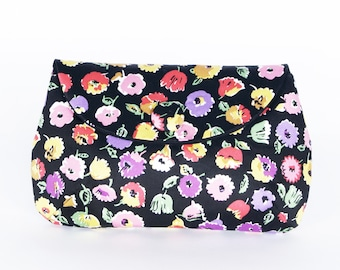 Bright Floral on Black clutch purse