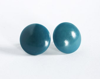Teal round vintage glass button earring