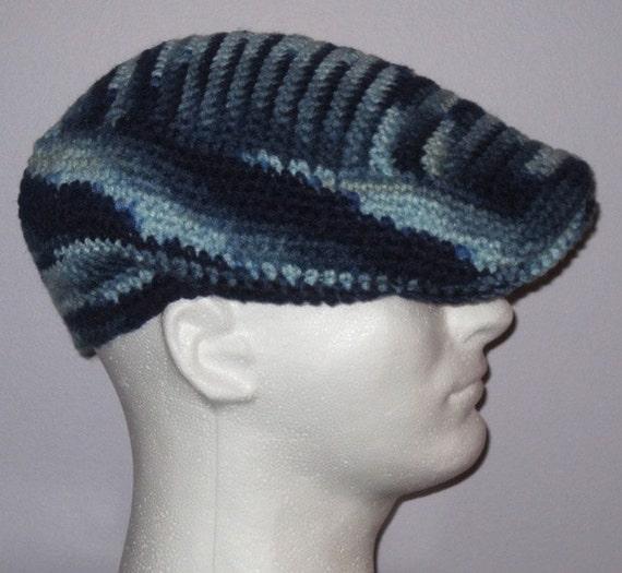 Crochet Newsboy Hat : Crochet Newsboy Hat / Cap: Blue - Crochet Kangol Inspired Cap - Men ...