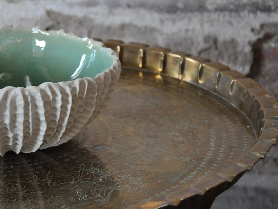 Copper Blue Extra Large Scallop Textured Serving Bowl - Porcelain Ceramic Serving Bowl Salad White Beach Decor