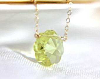 Jonquil Yellow Crystal Flower Necklace, Rare Vintage Swarovski Mod Daisy, 14K Gold Fill