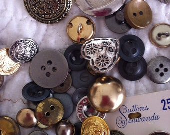 Lot of 100 plus Mixed Metal Buttons