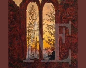 PR-149 Artistic Ephemera Print ~ One 8x10 or Two 5x7s ~ Caspar Friedrich - The Dreamer