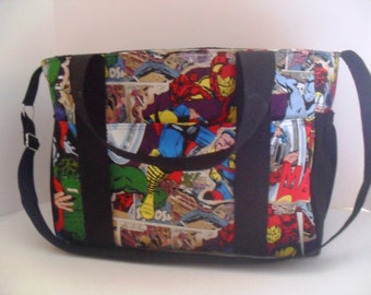 Extra Large Diaper bag Made of Marvel / Avengers Super Hero Fabric - Diaper Bag - Super Hero Diaper Bag - Messenger Bag - Tote Bag - Nappy