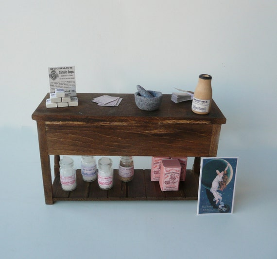 Dollhouse Miniature Counter Table - Apothecary Laboratory Pharmacy