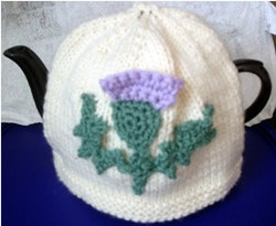 Knitted Tea Cosy with Scottish Thistle Design