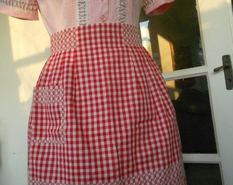 Vintage Apron circa 1950s - Red Valentine Gingham - Hand Embroidery, Handmade, never used