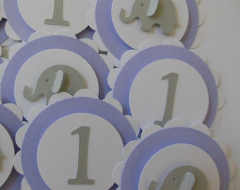 1st Birthday and Elephant Cupcake Toppers - Lilac, Gray and White - Girl Birthday Party Decorations - Set of 12