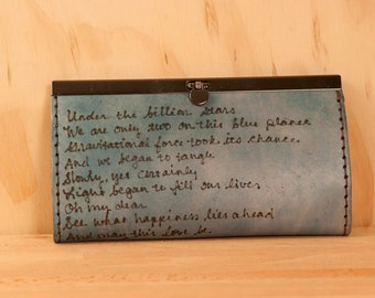 Leather Clutch Wallet - Personalized Smokey Pattern in blue