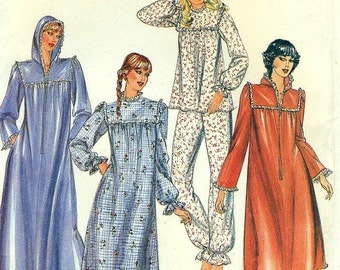 Butterick 3914  Misses' Pajamas, Hooded, Zippered  Nightgown and Robe 1980s