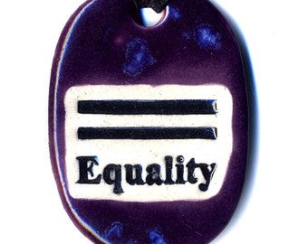 Equality Ceramic Necklace in Purple