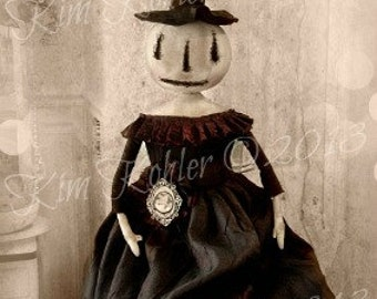 Primitive Doll Pattern PDF Halloween Witch Pumpkin INSTANT Download E-Pattern epattern E Patterns Sewing Cloth Spooky Goth Veenas Mercantile