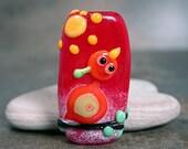 Whimsical Lampwork Glass Folk Art Stick Bird Orange Red Yellow Divine Spark Designs SRA LeTeam