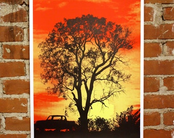 Southern Sunset - Hand-Printed Art Print