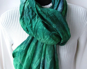 Infinity Scarf-Hand Dyed Silk Scarf for Women-Emerald Green and Teal-Womens Scarves Green circle scarf gift for women mom Summer scarf
