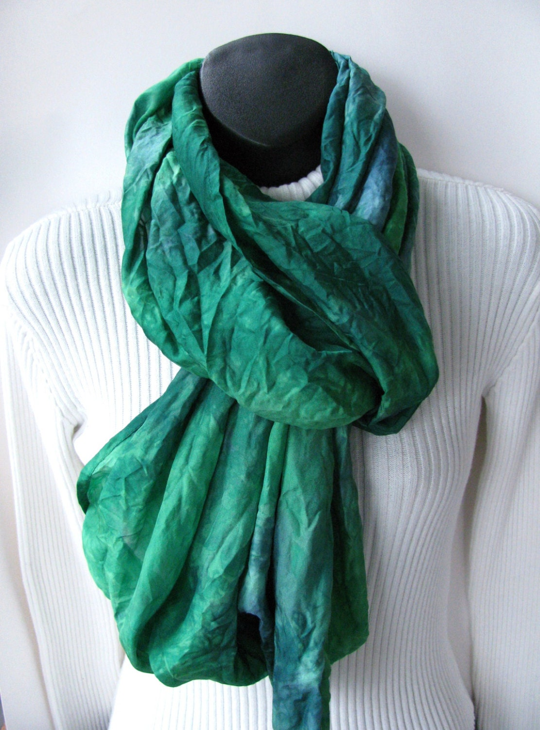 infinity scarf dyed silk scarf for emerald green