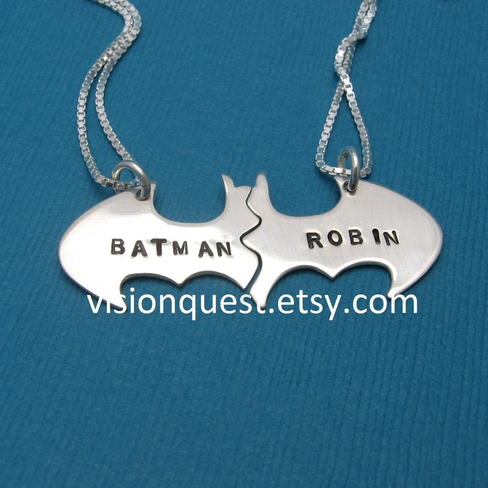 Batman Best Friend Necklaces Personalized Friendship Sterling
