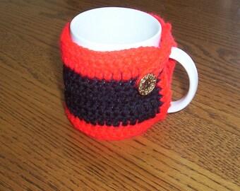 Hand Crochet Black and Red Coffee Mug Cozy