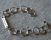 Bride Bracelet in Sterling Silver - Eco-Friendly - Recycled - Handstamped - Custom Personalized - Wedding Jewelry - Bride Gift