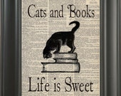 Vintage Dictionary Page Cats and Books Life Is Sweet Unframed  Upcycle Art Vintage Graphic 8 x 10