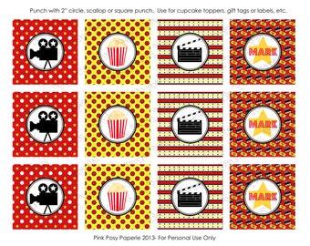 Printable Movie Night Birthday Cupcake Toppers