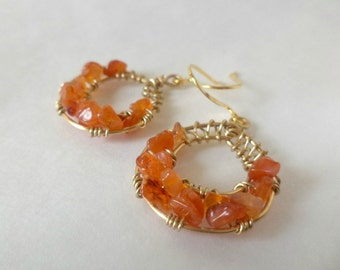 Carnelian Goddess Wrap Earrings