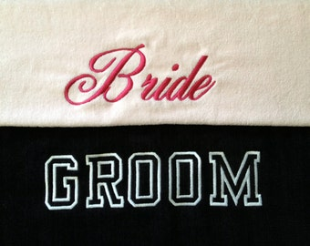 BRIDE & GROOM BEACH Towels with Tote Bag Embroidered 100% cotton terry velour - Made To Order