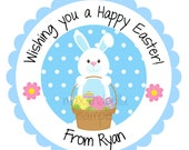 Easter Bunny with Basket Personalized Stickers, Birthday, Goody Bag Tags, Party Favors, Address Labels, Hang Tags - Set of 12