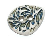 SALE Handmade Ceramic Stoneware Buttons - Stamped Droplets