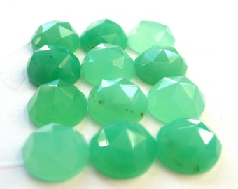 Gemstone Cabochons Chrysoprase Rose Cut 5mm FOR TWO