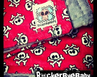 CUSTOM 2 sided red or black pirate monkey MINKY BLANKET you choose the color punk rock baby or toddler girl boy or unisex