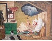 Magician Painting  - 1960s - Interior Painting - Checkoslovakia - Signed Painting
