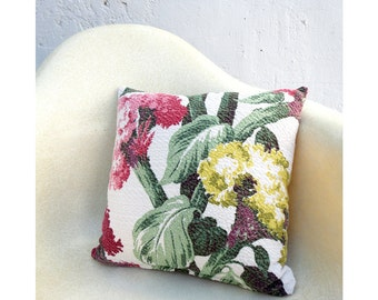 Floral Motif Pillow Case Cover - 14 Inch Size - Vintage Bold Nubby Floral Fabric -