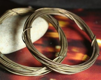 Hand antiqued oxidized solid brass wire 20g thick, 10 ft (item ID HMABW20G)
